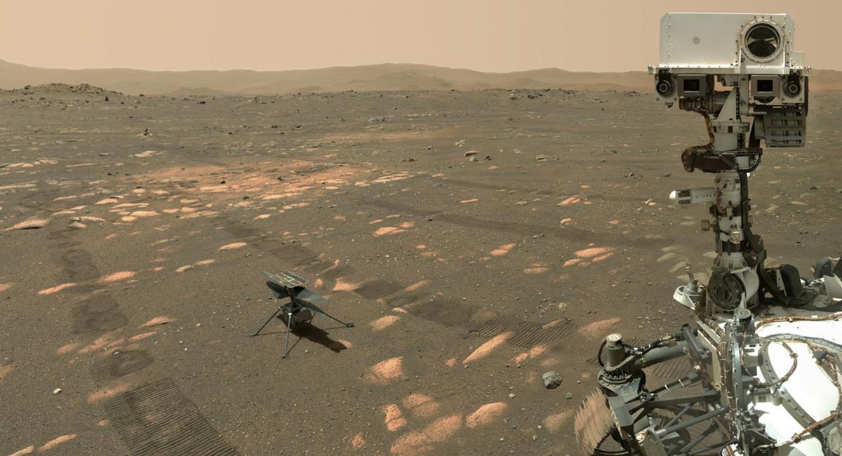 """Ingenuity podrá completar sus 5 vuelos """"de prueba"""" y ahora tener más retos. Foto: Twitter @NASAPersevere"""