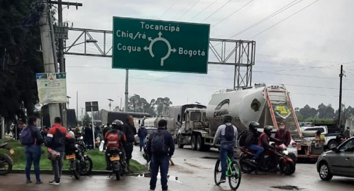 Continúan bloqueos en diferentes municipios del departamento. Foto: Gobernación de Cundinamarca