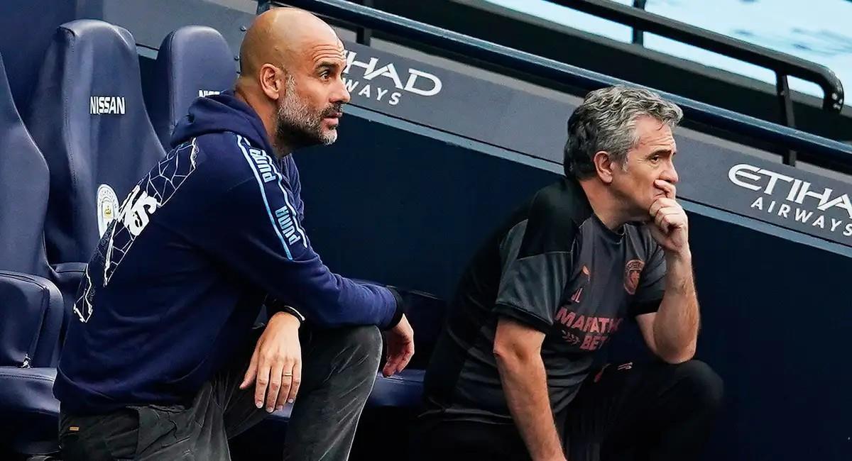 Guardiola y Lillo en el banquillo de Manchester City. Foto: EFE