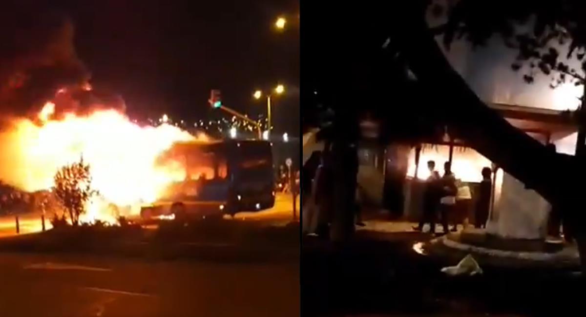 El sur de la ciudad ha ardido en esta noche con la quema de CAI, buses del sistema de transporte público y violentas manifestaciones. Foto: Captura de video