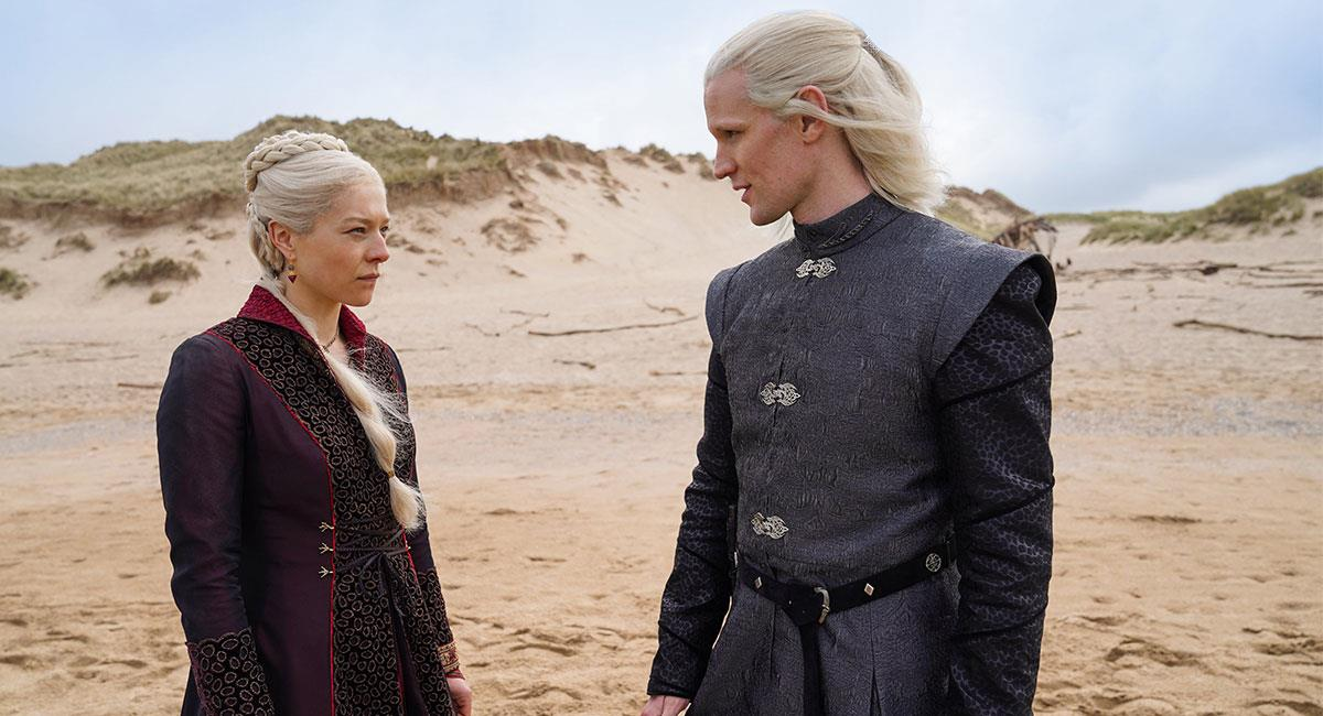 "Así lucirán la Princesa Rhaenyra Targaryen y el Príncipe Daemon Targaryen en ""House of the Dragon"". Foto: Twitter @HBOLAT"