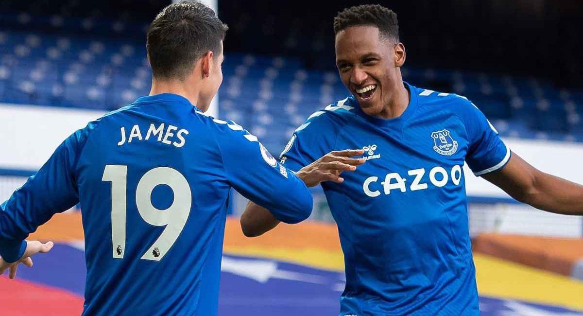 James Rodríguez y Yerry Mina se encuentran en la fase crucial de la temporada con Everton. Foto: Twitter @Everton