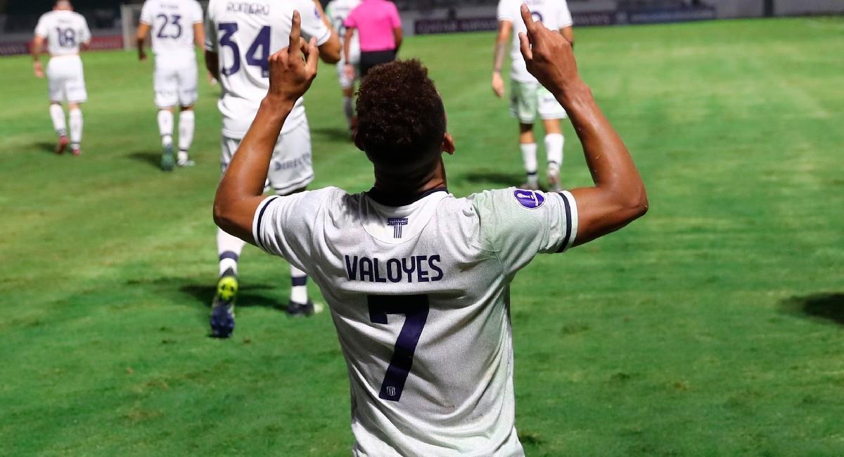 Diego Valoyes celebra su gol con Talleres. Foto: EFE