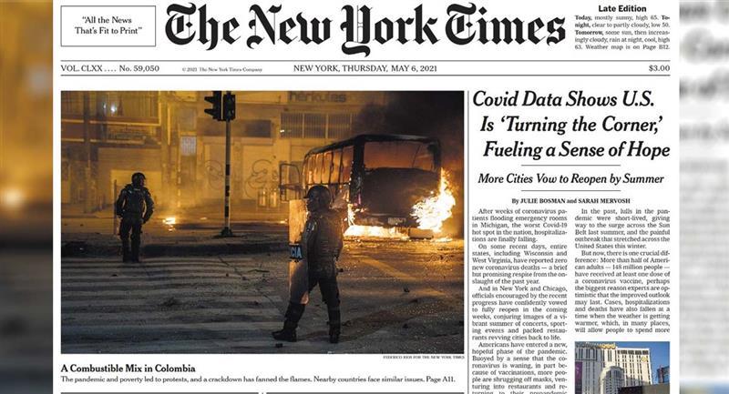Paro Nacional en Colombia: Manifestaciones son portada de The New York Times  por el abuso policial