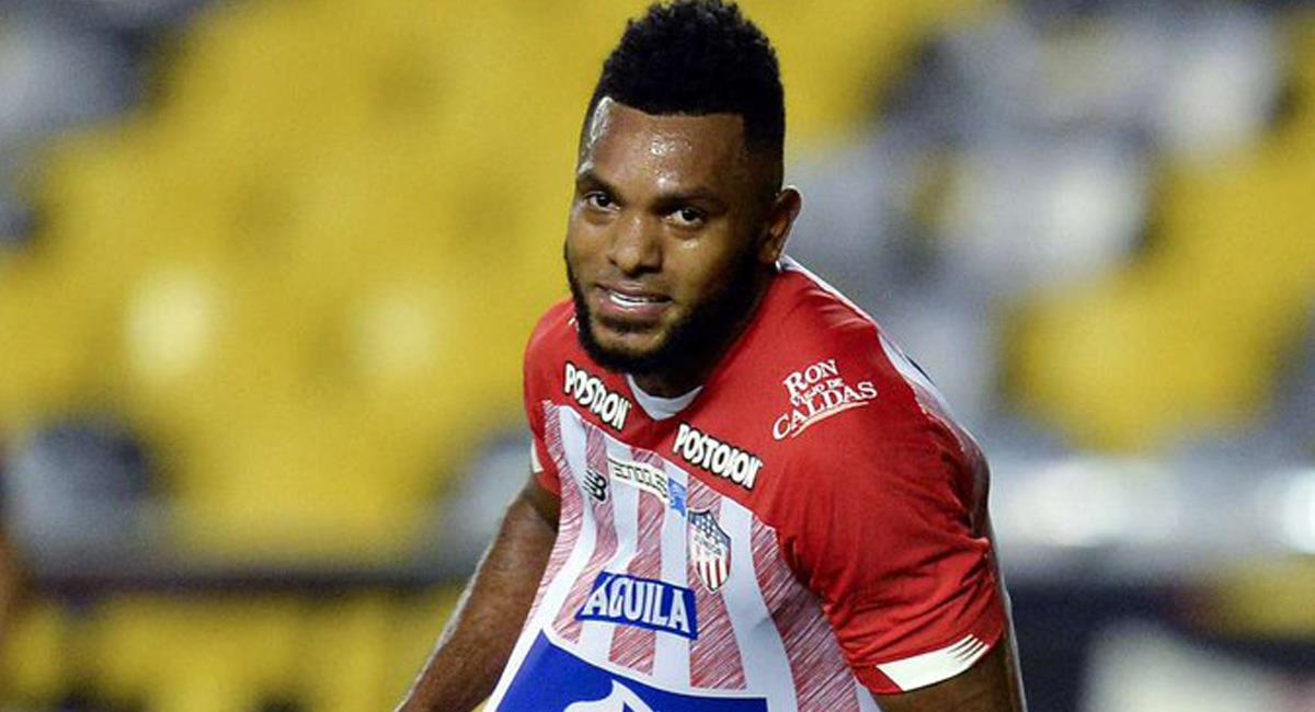 Miguel Ángel Borja de Junior de Barranquilla marcó el único gol de los equipos colombianos en esta tercera jornada de la fase de grupos de la Conmebol Libertadores. Foto: Twitter @WillyFPC
