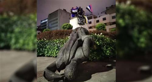 Paro nacional Indígenas estatua Gonzalo Jiménez de Quesada Bogotá video