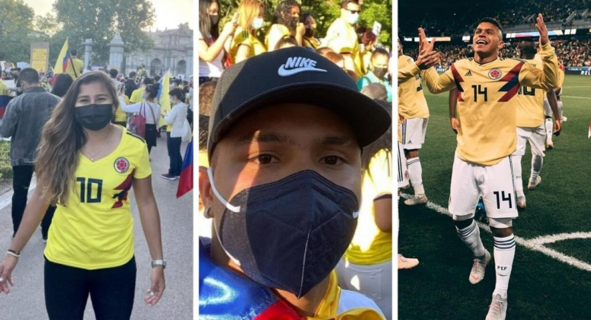 'Cucho' Hernández y Leicy Santos marcharon por Colombia. Foto: Instagram Leicy Santas y Cucho Hernández.