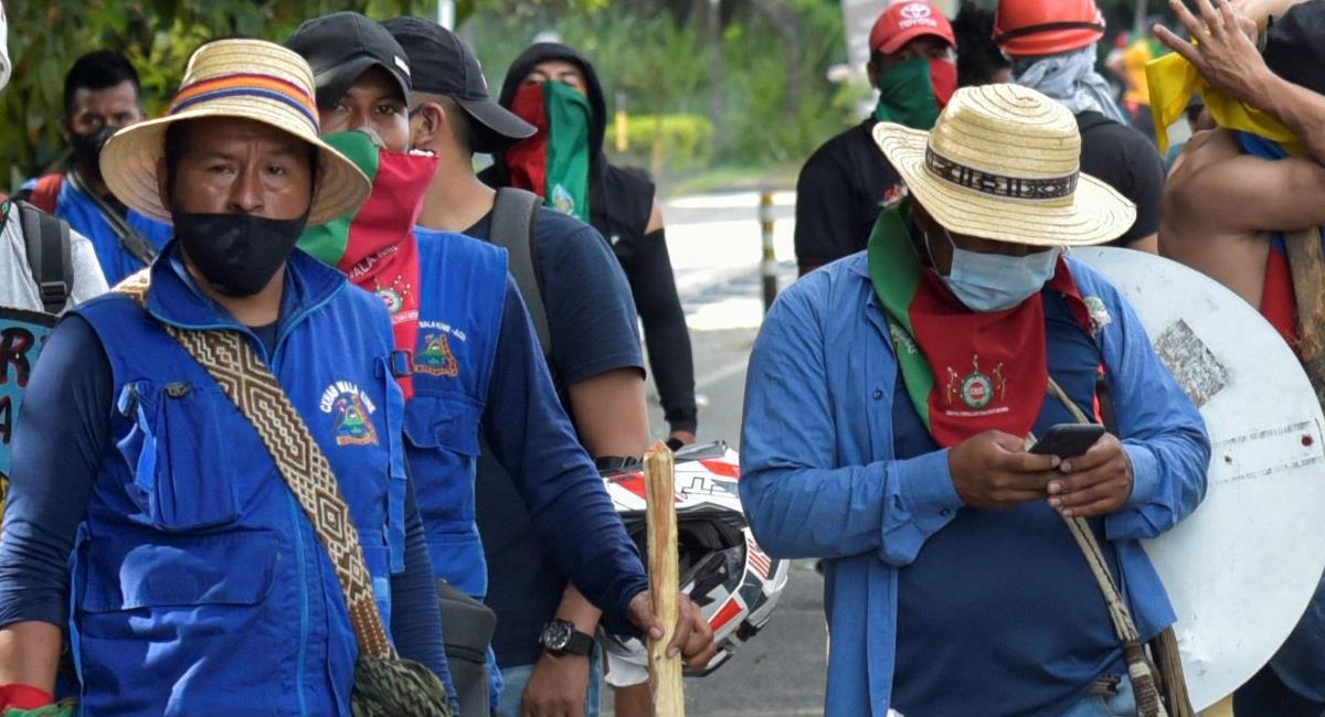 La Minga indígena del Cauca regresará a sus territorios para continuar con el paro nacional y diferentes movilizaciones. Foto: Twitter @ajplus