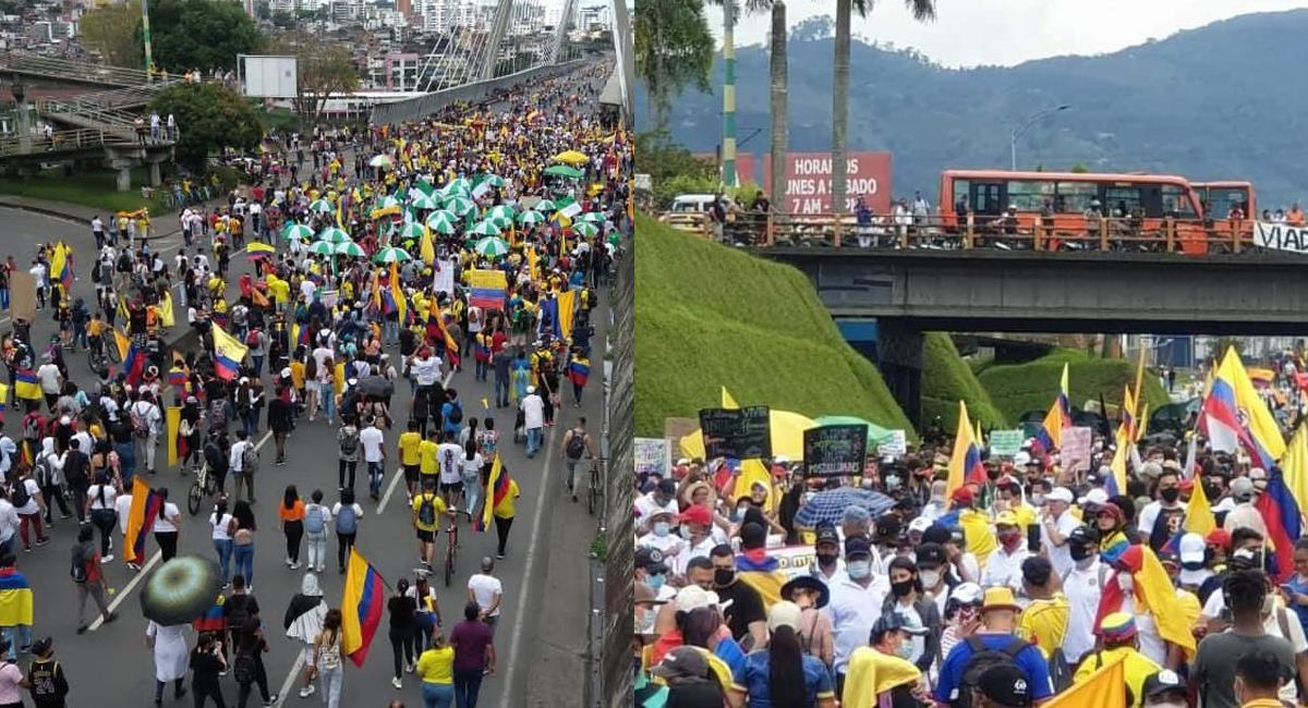El viaducto de Pereira fue escenario de una concurrida manifestación en homenaje a Lucas Villa, baleado el 5 de mayo en una manifestación pacífica. Foto: Facebook Perímetro Asegurado / Conexión Eje Digital