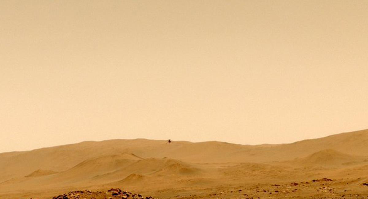El Ingenuity, ha completado ya, sus 5 vuelos de prueba y ahora tiene más retos que cumplir en Marte. Foto: Twitter @NASAJPL