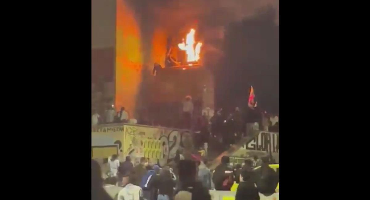 Captura de pantalla, incendio 'Monumento a los Héroes'. Foto: Twitter @ConValorEtico