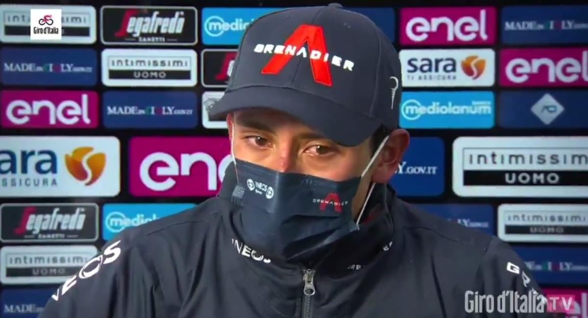 Egan Bernal celebró la victoria con lágrimas. Foto: Twitter Prensa redes Giro de Italia.