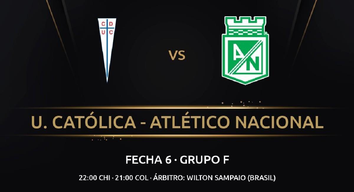 Sigue EN VIVO, Universidad Católica vs. Atlético Nacional por Libertadores. Foto: Twitter @Dimayor