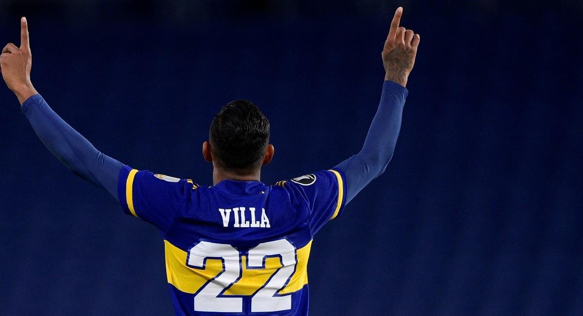 Sebastián Villa celebra su gol ante The Strongest. Foto: EFE