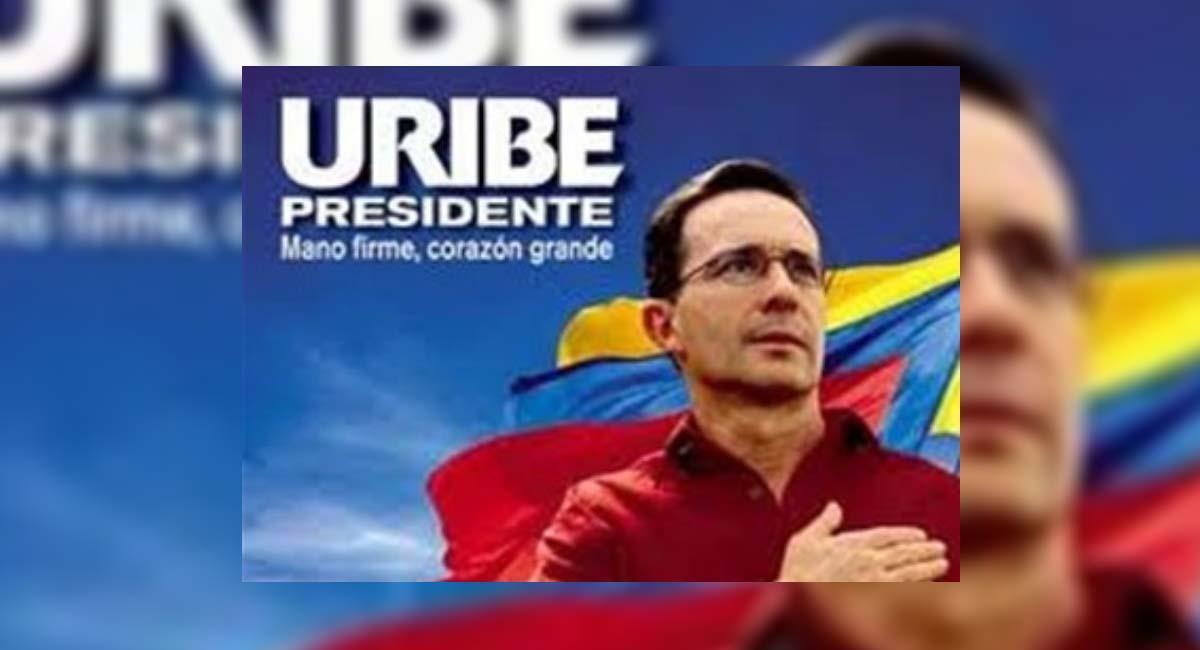 Imagen con la que se publicitó la campaña presidencial de Uribe en 2002. Foto: Twitter / @_carlosduque