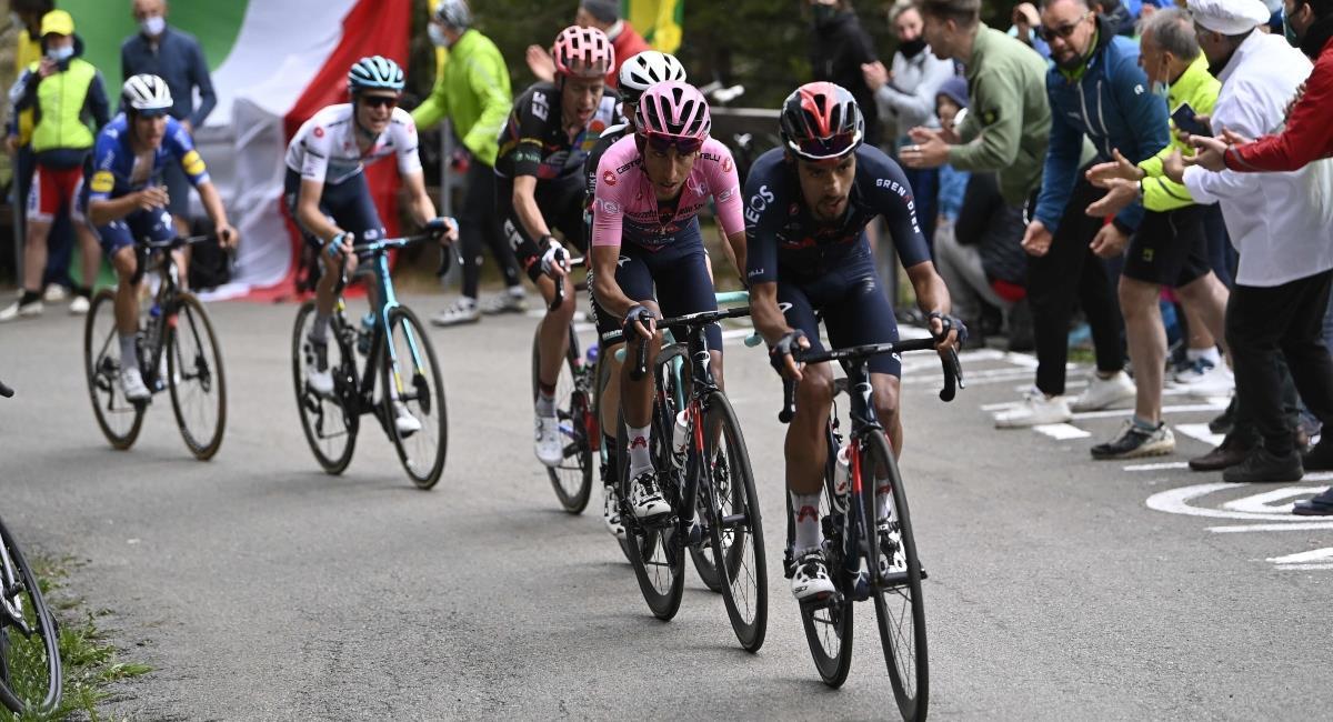 Egan Bernal quedó muy cerca del título del Giro de Italia. Foto: Twitter Prensa redes Giro de Italia.