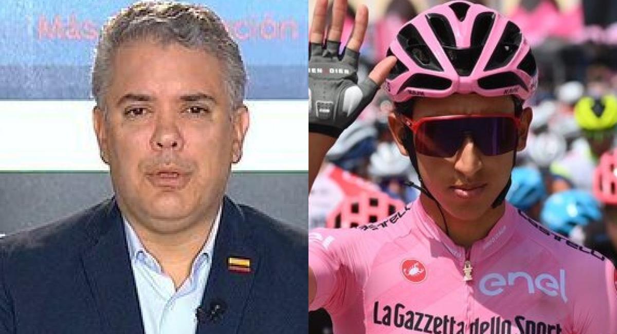 Críticas a Iván Duque por felicitar a Egan Bernal. Foto: Twitter Prensa redes Iván Duque y Giro de Italia.