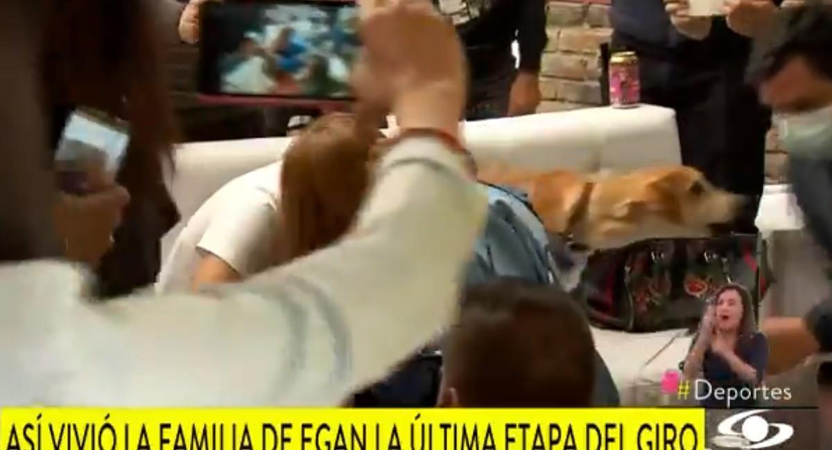 El preciso momento entre el perro de Egan Bernal y el periodista de Noticias Caracol. Foto: Twitter @NoticiasCaracol