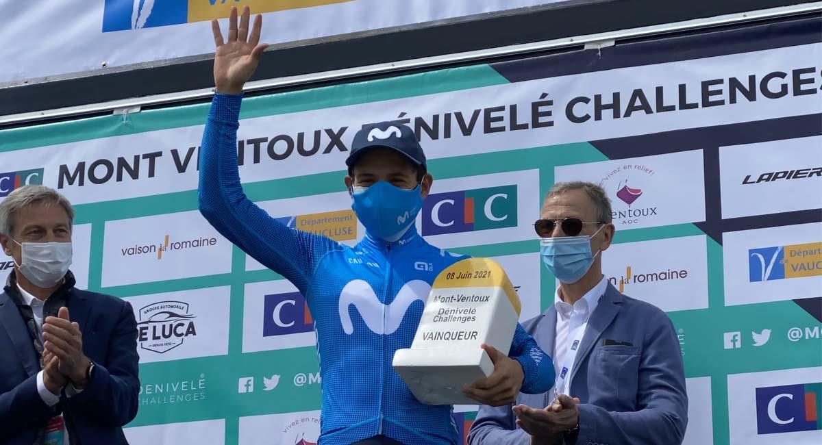 Miguel Ángel López, campeón de la Mont Ventoux Dénivelé Challenge. Foto: Twitter / @Movistar_Team