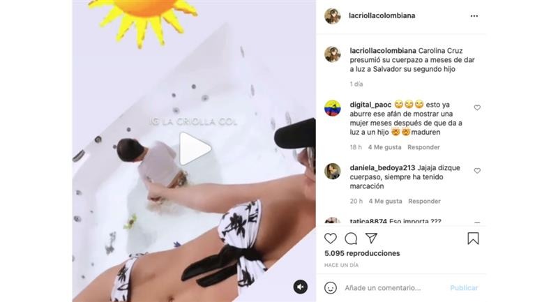 Captura de pantalla. Foto: Instagram @lacriollacolombiana.