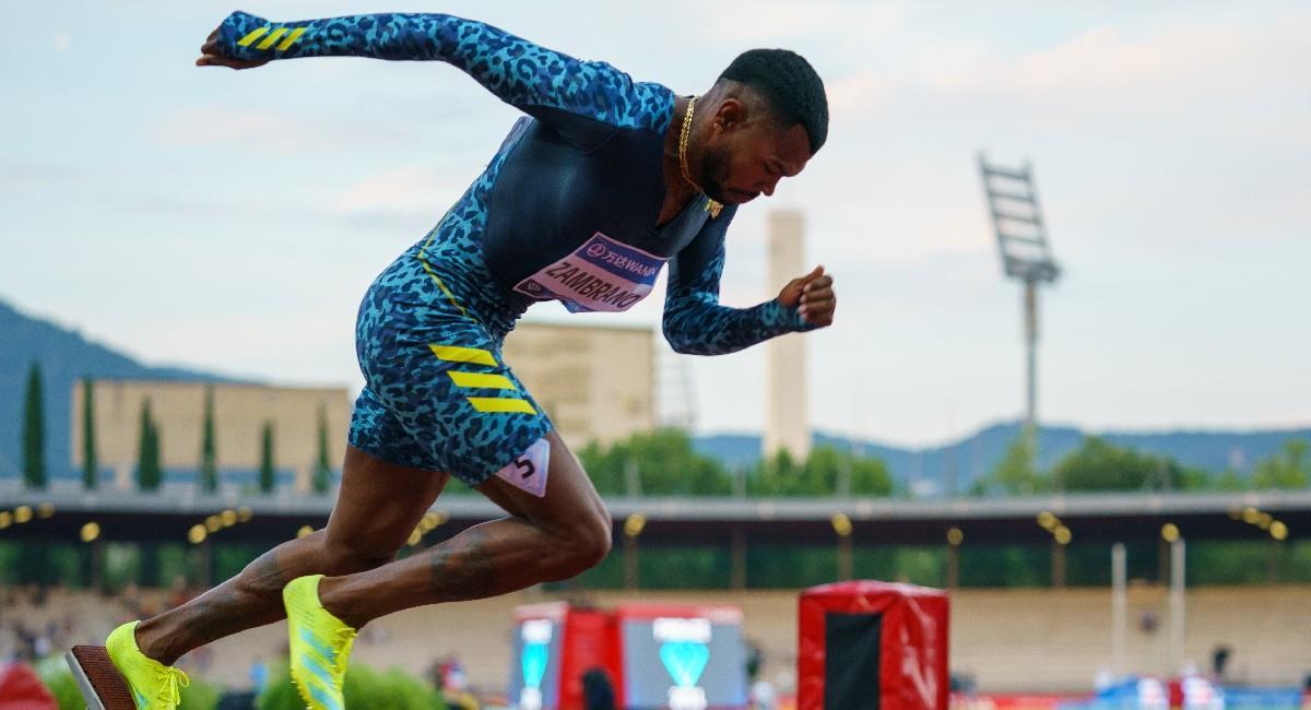 Anthony Zambrano ganador en la prueba de los 400 metros en parada de la Liga Diamante. Foto: Twitter @Diamond_League - Matthew Quine
