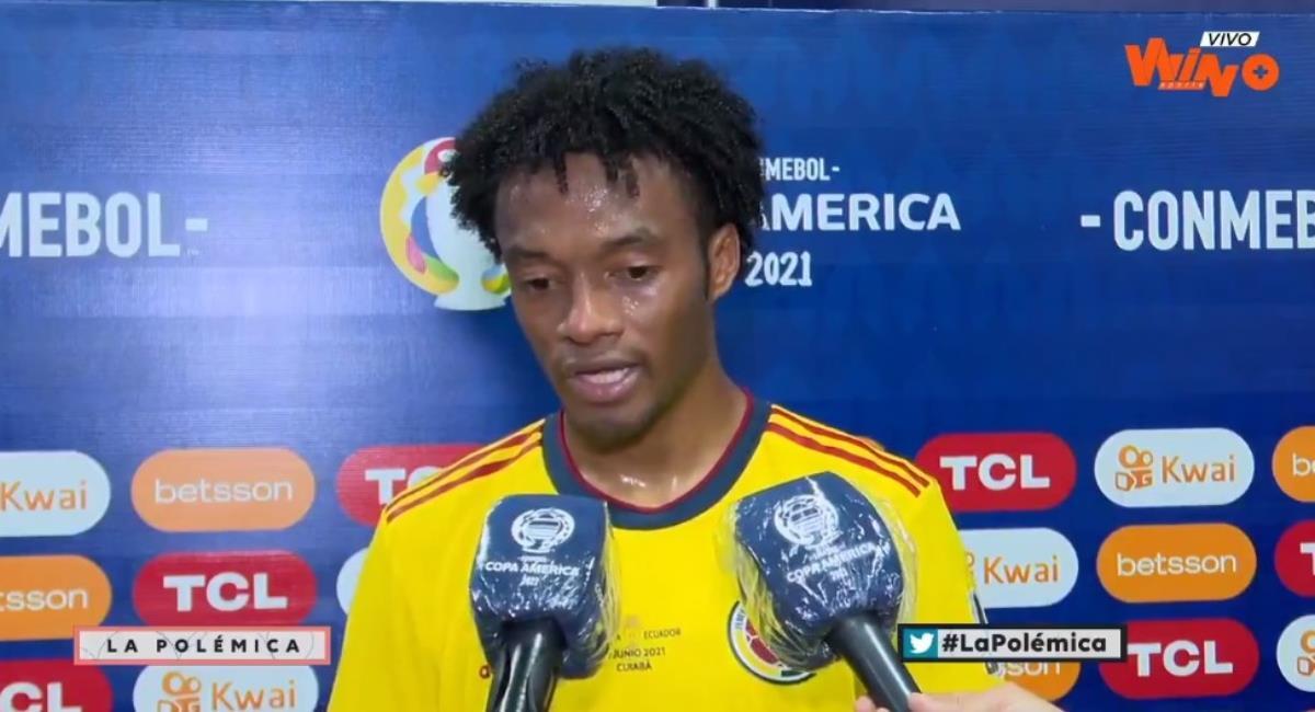 Cuadrado y Cardona hablaron tras la victoria de Colombia. Foto: Twitter Captura pantalla Win Sports.
