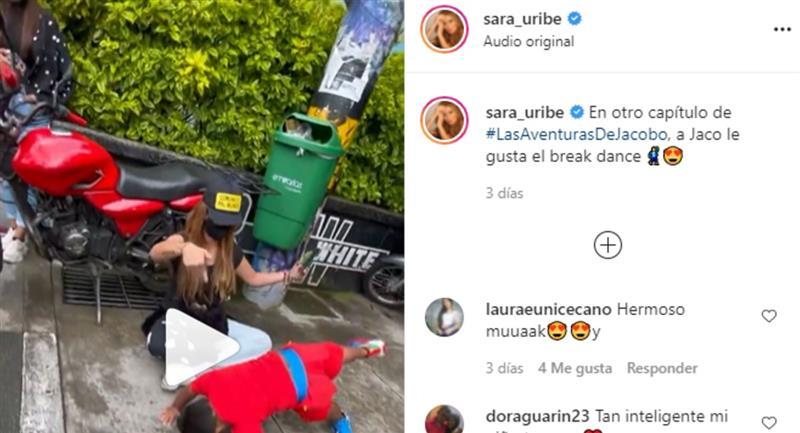 Sara Uribe demuestra el talento que tiene su hijo para bailar break dance
