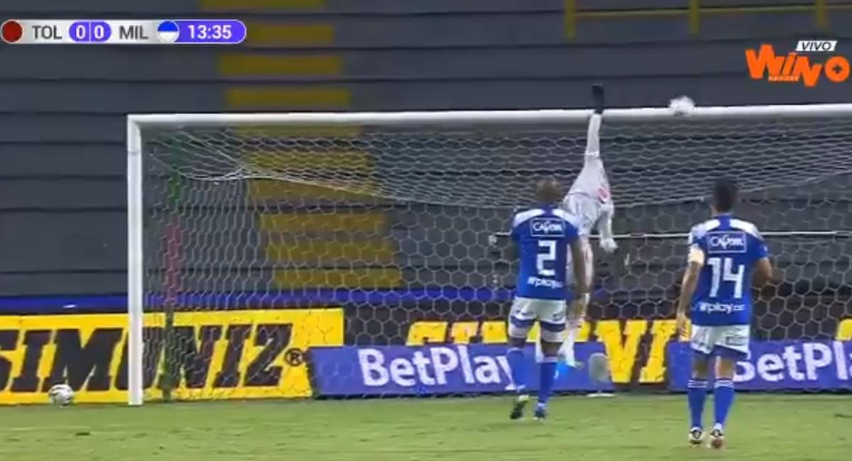 Así se salvó Millonarios ante Tolima. Foto: Twitter @WinSportsTV