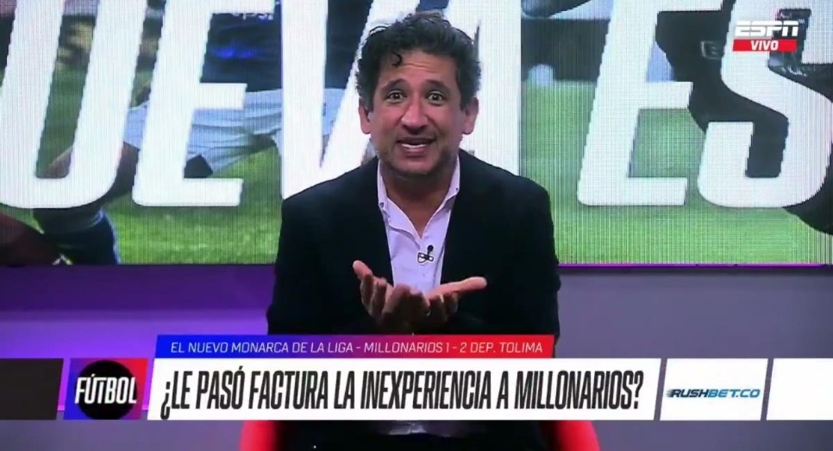 Burlas a Antonio Casale por derrota de Millonarios. Foto: Twitter captura pantalla ESPN.