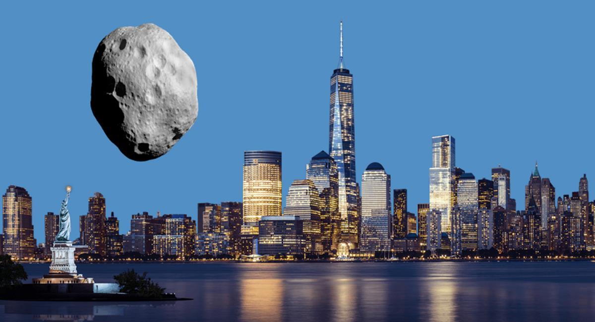 La imagen comparativa visualiza el simulador del tamaño que tiene el asteroide y la Estatua de la Libertad. Foto: Twitter @SpaceReference