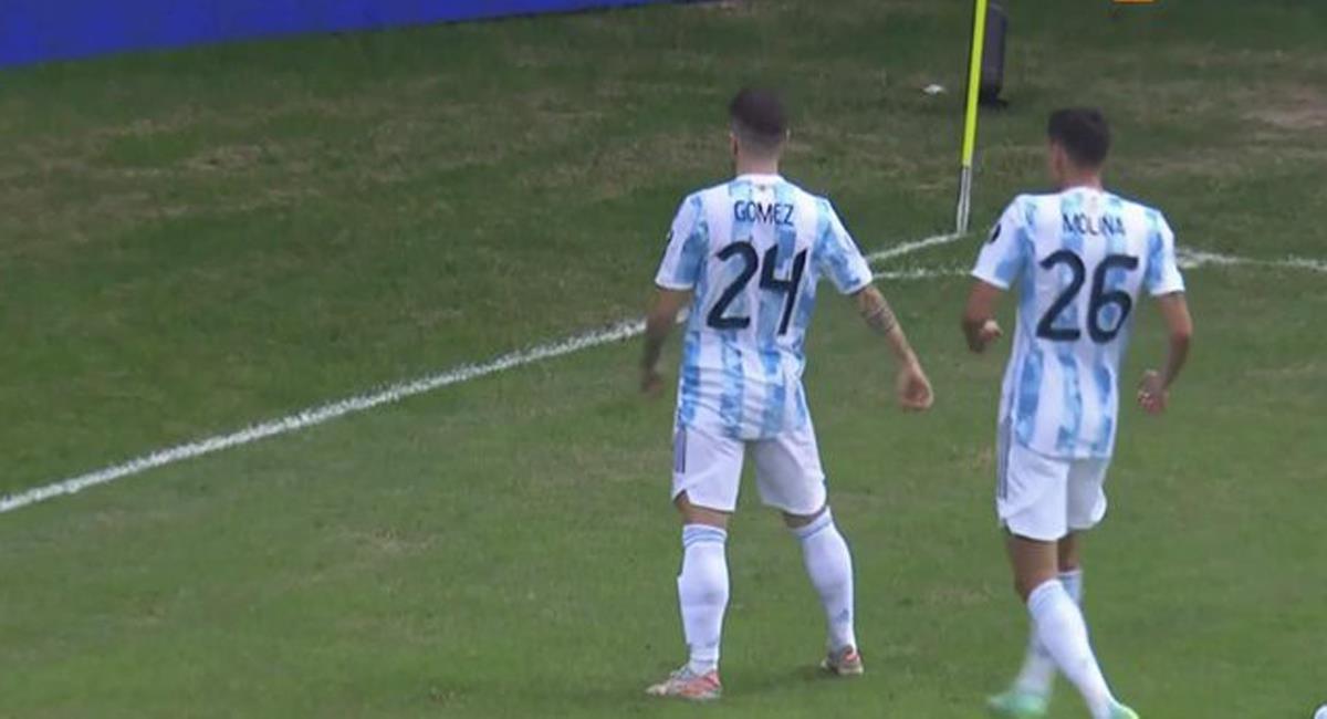 Alejandro Gómez celebra el gol ante Paraguay en el tercer partido argentino en la Copa América 2021. Foto: Twitter @bestismessi