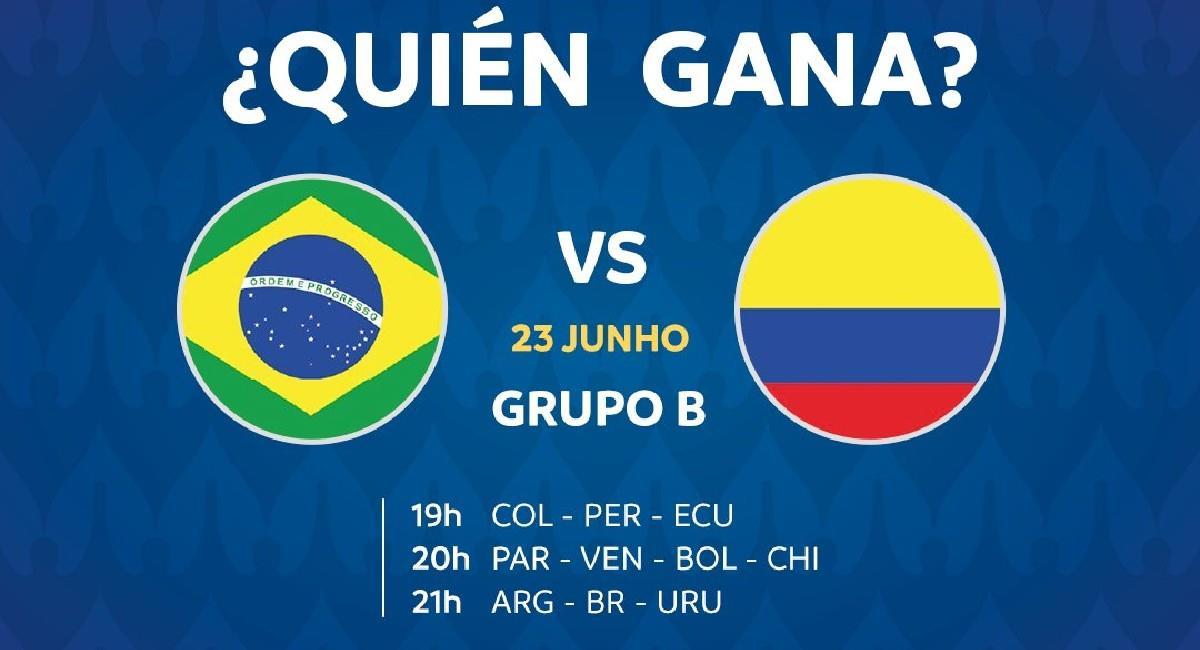 Sigue EN VIVO el partido Brasil vs. Colombia por Copa América. Foto: Twitter @CopaAmerica