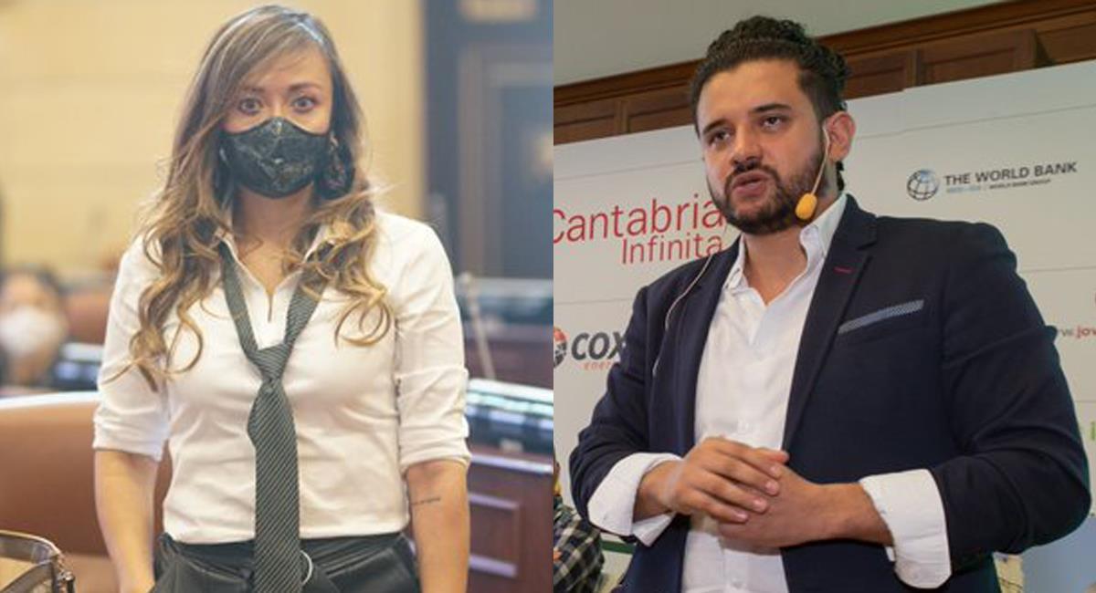 Katherine Miranda e Inti Raúl Asprilla, miembros del partido Alianza Verde cuestionaron a Claudia López. Foto: Twitter @lafm / @gylforum