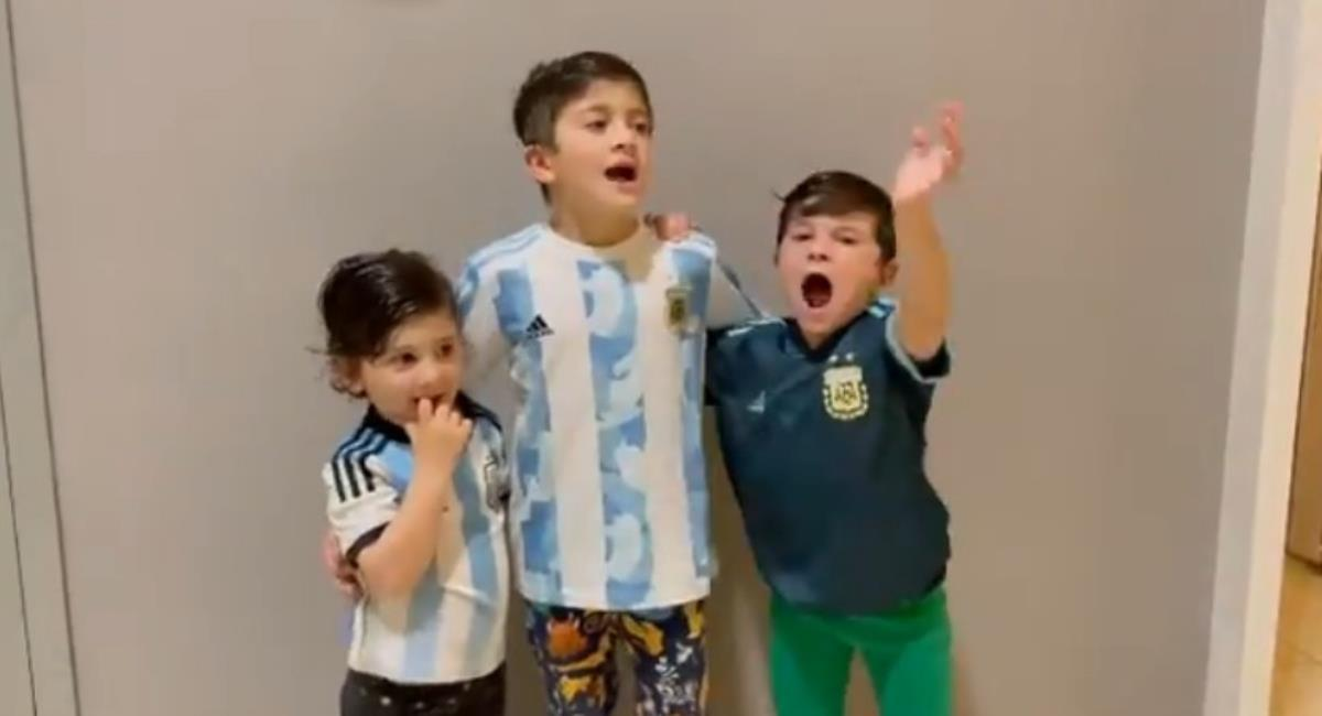 Hijos de Messi celebrando. Foto: Instagram Prensa redes Antonella.