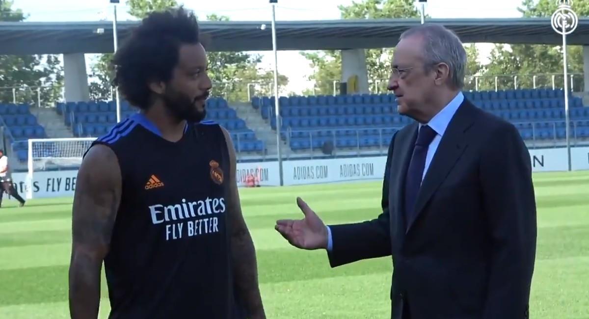 Florentino Pérez, presidente de Real Madrid con Marcelo. Foto: Twitter @realmadrid
