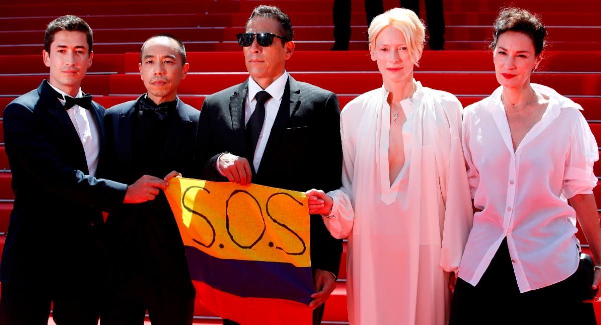 Actores y director de la película 'Memoria'. Foto: EFE