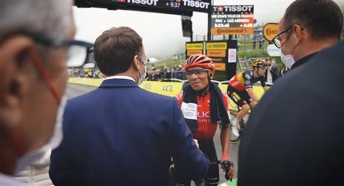 Nairo Quintana saludo Presidente de Francia Emmanuel Macron video Tour de Francia