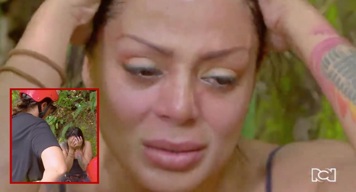 La cantante no contuvo las lágrimas y tuvo que buscar otra alternativa. Foto: Captura de pantalla Canal RCN.