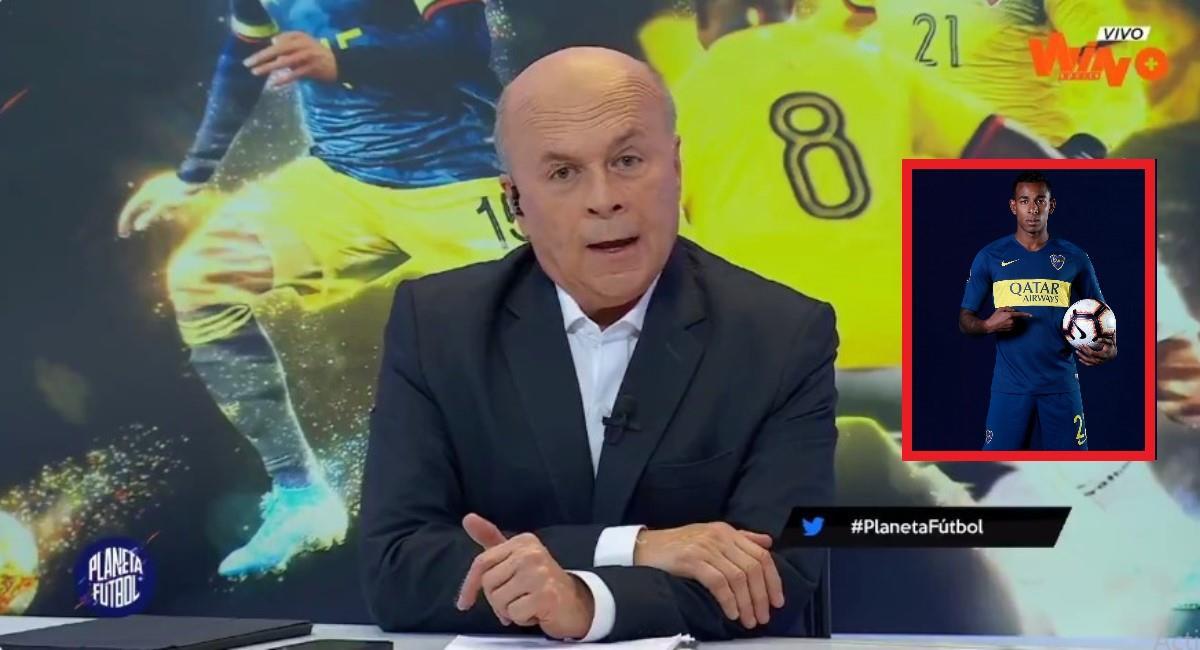 Vélez le dio con todo a Sebastián Villa. Foto: Twitter Captura pantalla Win Sports.