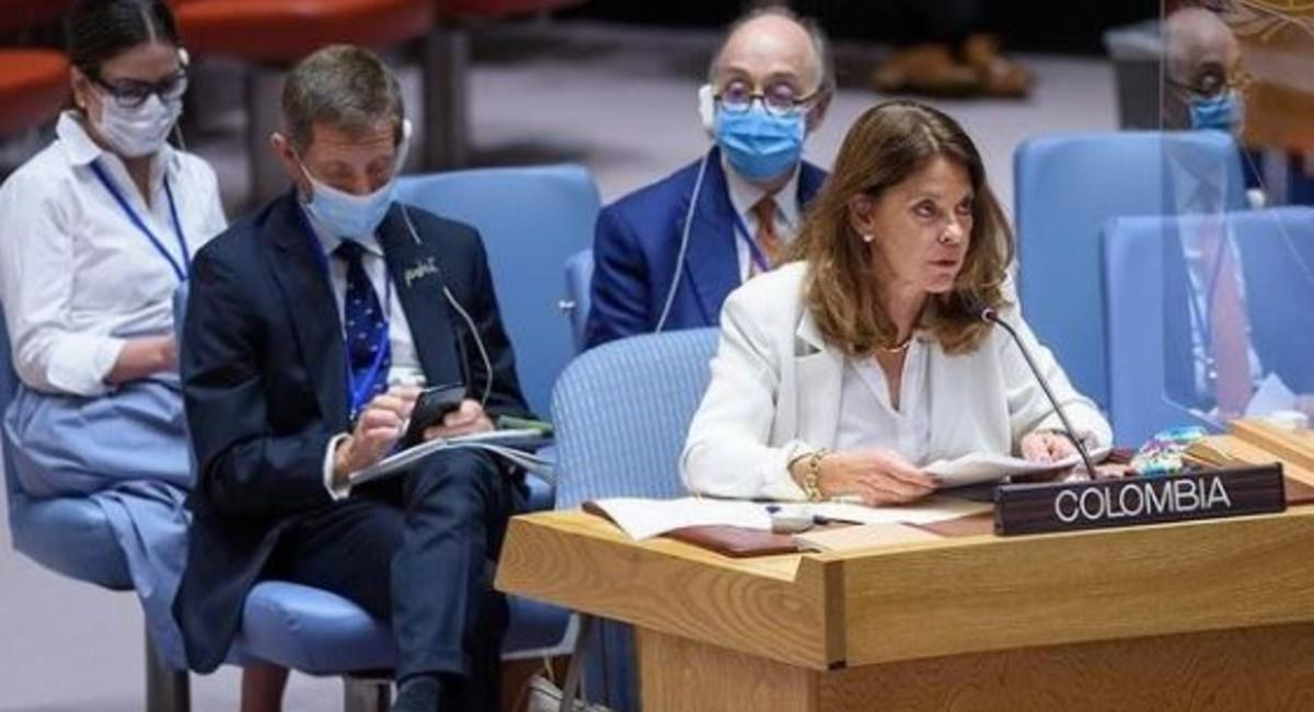 La vicepresidenta durante su intervención en las Naciones Unidas. Foto: Instagram @martalucia.ramirez.