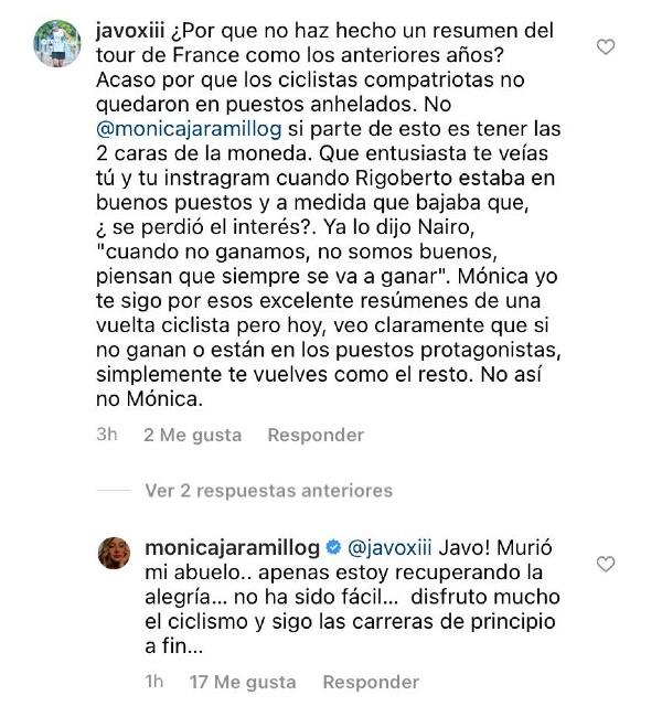 Captura de pantalla. Foto: Instagram @monicajaramillog.