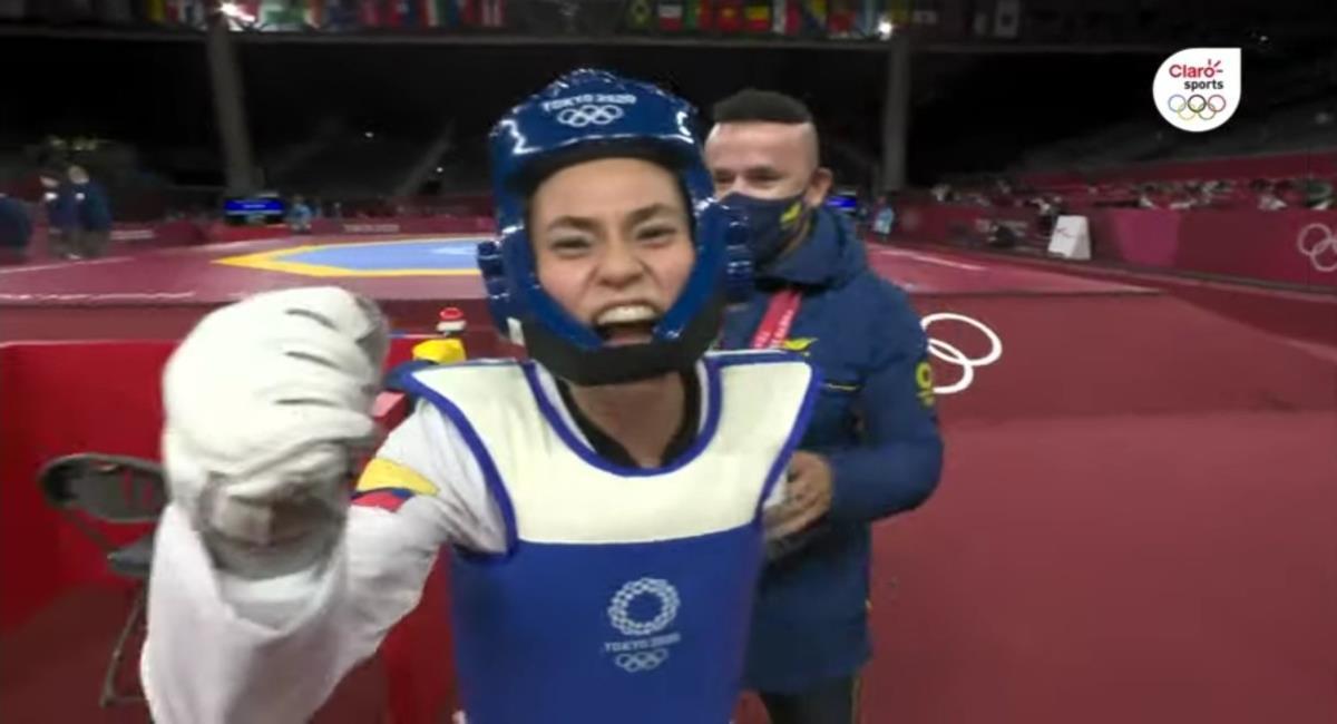 Andrea Ramírez le da la primera victoria a Colombia en los Juegos Olímpicos. Foto: Youtube Captura pantalla Claro Sports.