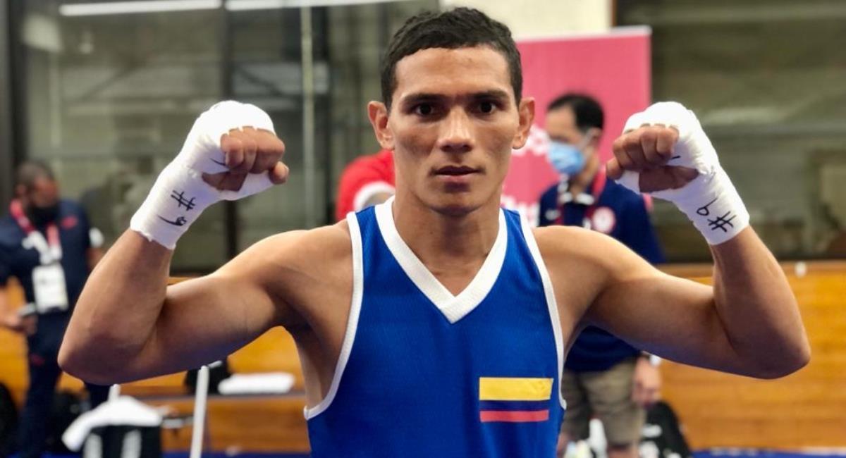 Céiber Ávila le da la victoria a Colombia en boxeo. Foto: Twitter Prensa redes Comité Olímpico Colombiano.