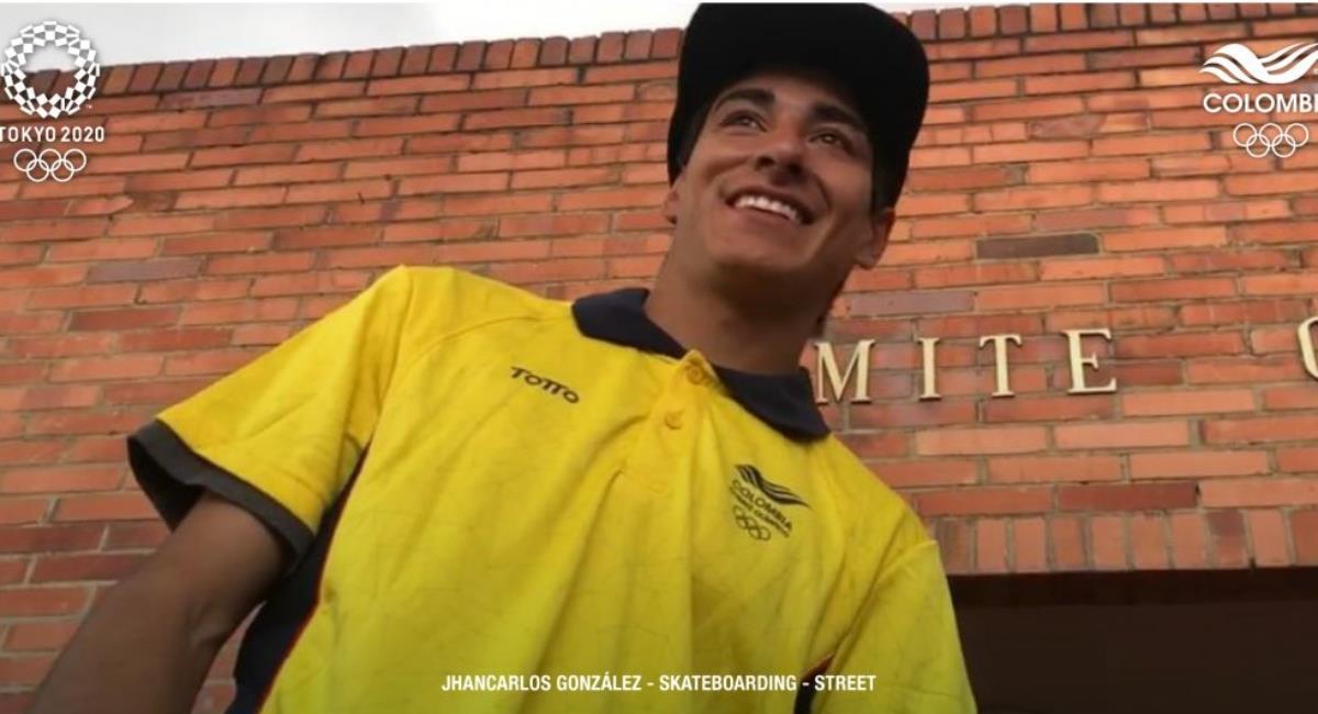 Jhancarlos González representará a Colombia en el skateboarding. Foto: Twitter Prensa redes Comité Olímpico Colombiano.