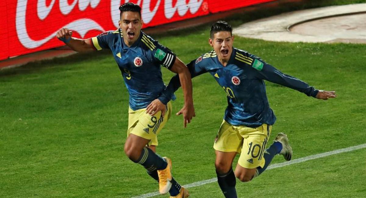Falcao García y James Rodríguez en la Selección Colombia. Foto: EFE