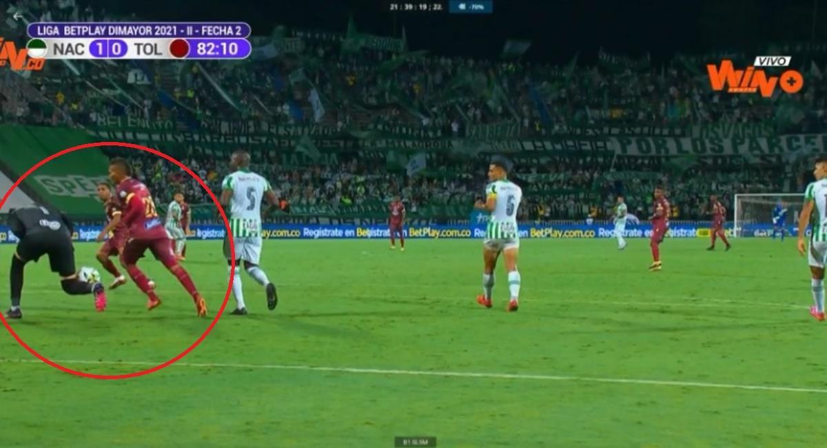 Polémica por gol anulado al Tolima ante Nacional. Foto: Twitter Captura pantalla Win Sports.