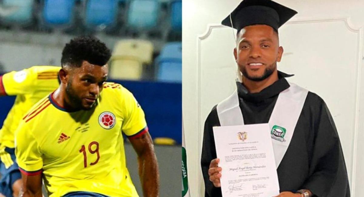 Miguel Borja se graduó de bachiller. Foto: Instagram Prensa redes Miguel Borja.