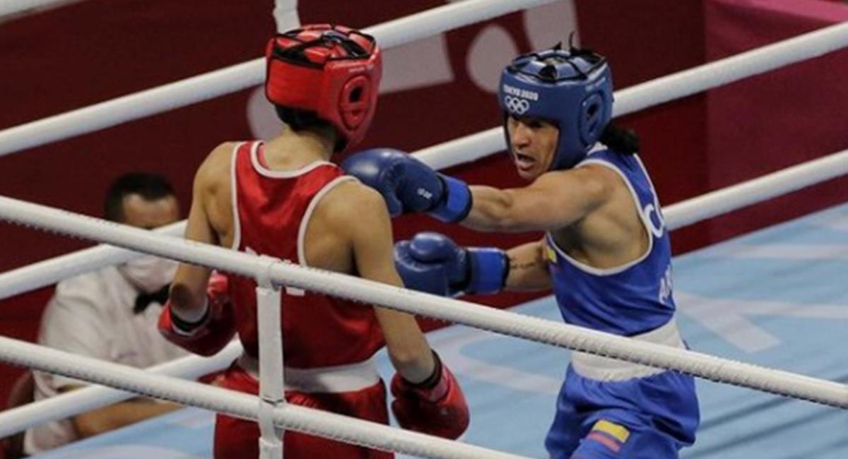 Triunfo de la colombiana Arias sobre la búlgara Petrova. Foto: Instagram Redes Comité Olímpico Colombiano