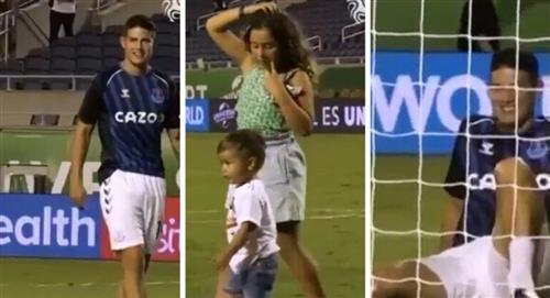 James Rodríguez jugando con sus hijos Samuel Salomé partido Everton vs Millonarios Florida Cup