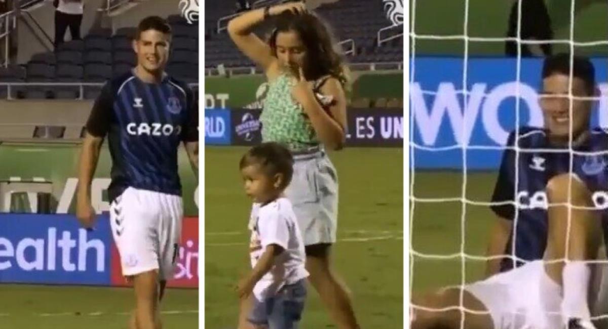James jugando con sus hijos. Foto: Twitter Prensa redes James Rodríguez.